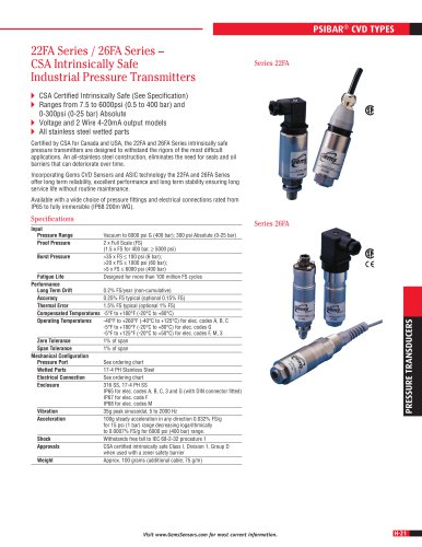 22FA Series / 26FA Series – CSA Intrinsically Safe Industrial Pressure Transmitters