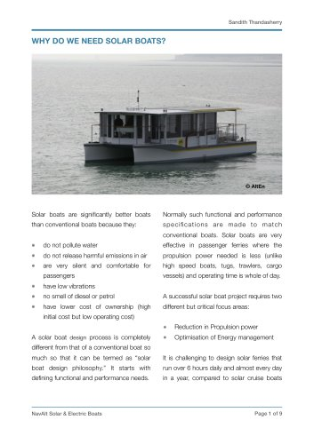 White Paper on Solar Boats