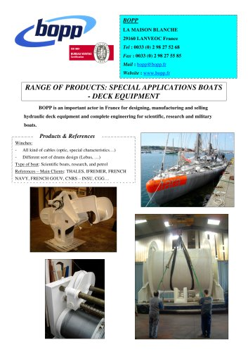 special applications boats, deck equipment