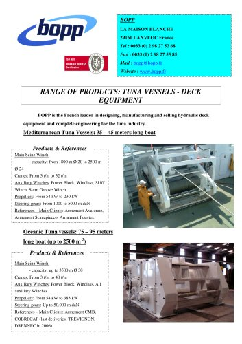 tuna vessels- deck equipment