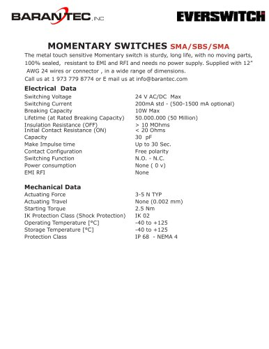 MOMENTARY SWITCHES SMA/SBS/SMA