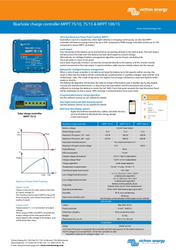 BlueSolar charge controller MPPT 75/10, 75/15 & MPPT 100/15
