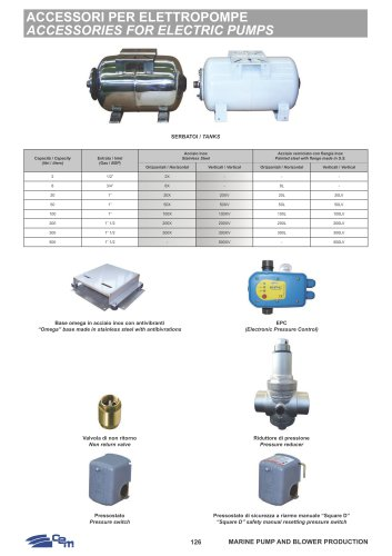 ACCESSORIES FOR ELECTRIC PUMPS