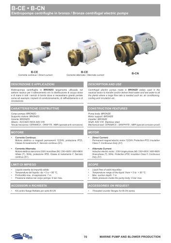 B-CE/B-CN BRONZE CENTRIFUGAL ELECTRIC PUMPS