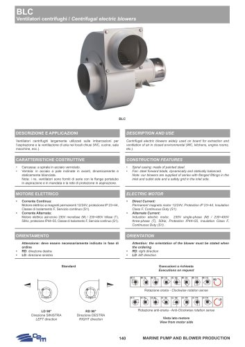 BLC CENTRIFUGAL ELECTRIC BLOWERS