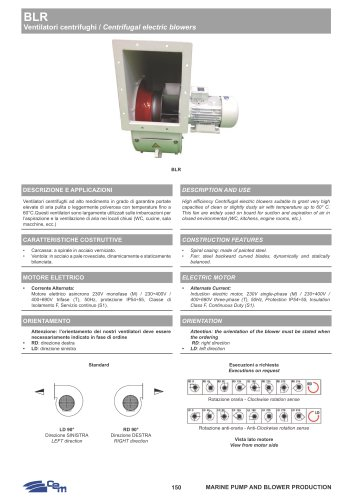 BLR CENTRIFUGAL ELECTRIC BLOWERS