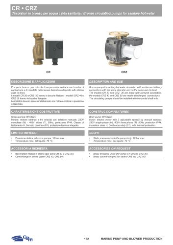 BRONZE CIRCULATING PUMPS FOR SANITARY HOT WATER