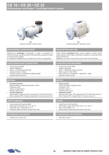 CE 16-20-22 CENTRIFUGAL ELECTRIC PUMPS