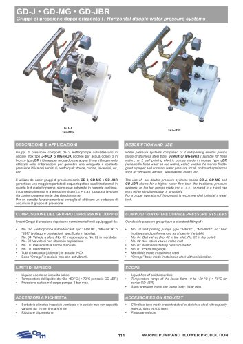 HORIZONTAL DOUBLE WATER PRESSURE SYSTEMS