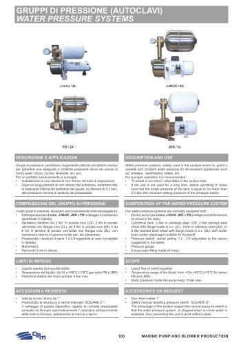 Water pressure systems 2L, 2X, 8L, 8X