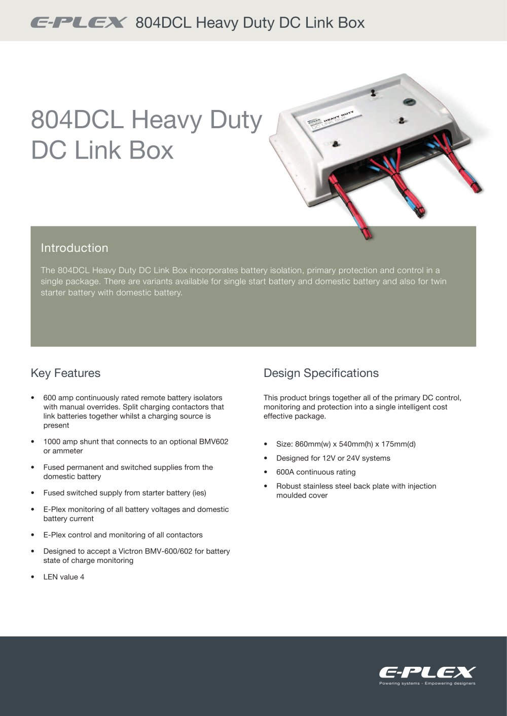 E Plex 804dcl Heavy Duty Dc Link Box Pdf Catalogues Multi Battery Isolator Wiring Diagram 1 9 Pages