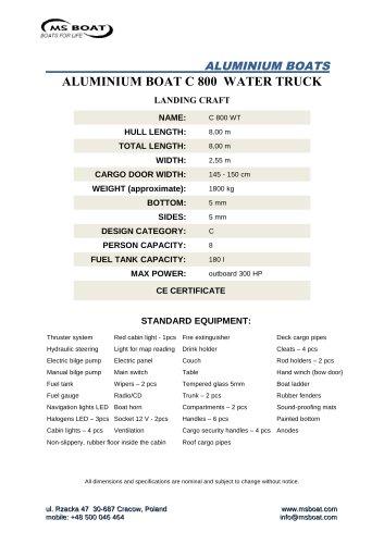 ALUMINIUM BOAT C 800 WATER TRUCK