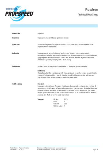 Propclean Technical datasheet