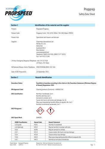 Propprep Material Safety datasheet