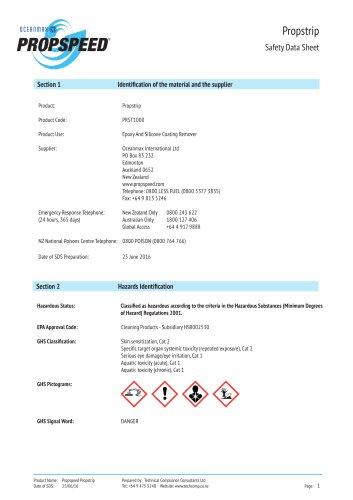 Propstrip Material Safety datasheet