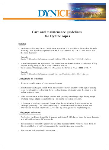 Care and maintenance guidelines for DynIce ropes