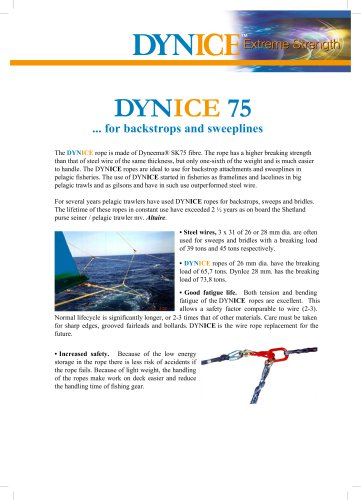DYNICE 75... for backstrops and sweeplines