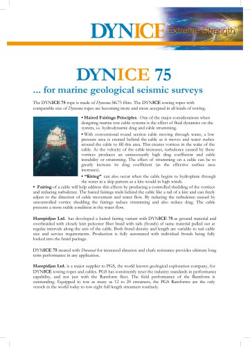 DYNICE 75... for marine geological seismic surveys