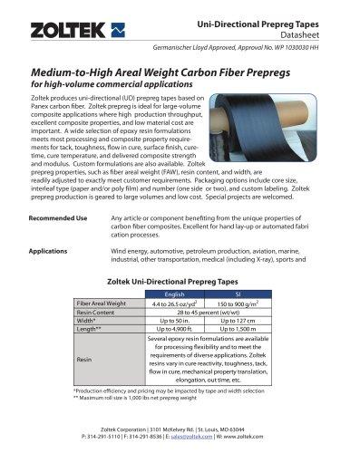 Zoltek Carbon Fiber Prepregs