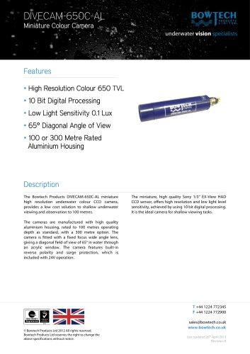 DIVECAM-650C-AL Miniature Underwater Colour CCD Video Camera