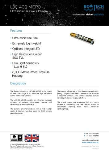 L3C-400-MICRO Miniature High Resolution Underwater Colour Camera