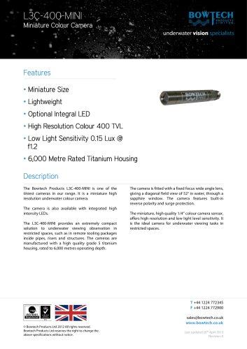L3C-400-MINI Miniature High Resolution Underwater Colour Camera