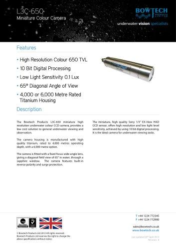 L3C-650 Miniature High Resolution Underwater Colour CCD Video Camera