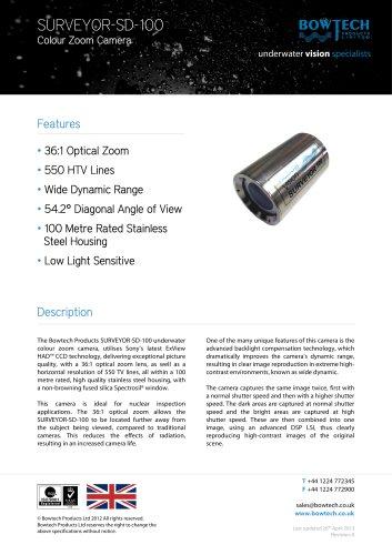 SURVEYOR-SD-100 Underwater Colour Zoom Video Camera