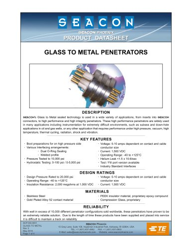 SCP-DS-0001 Glass to Metal Rev 3