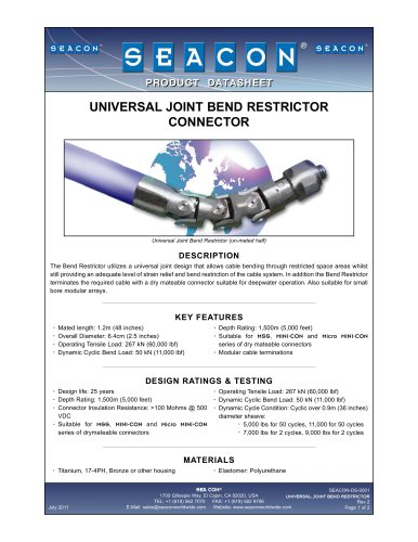 SEACON-DS-0001 Universal Joint Bend Restrictor Rev 2