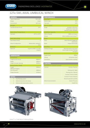 12Te SWL AXIAL UMBILICAL WINCH