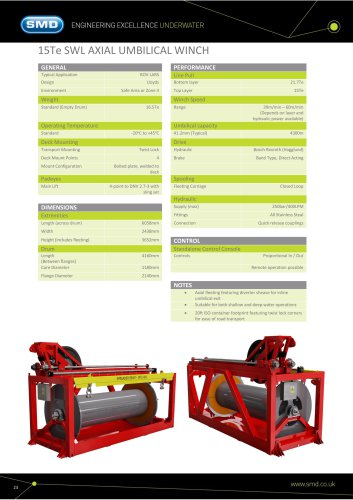 15Te SWL AXIAL UMBILICAL WINCH