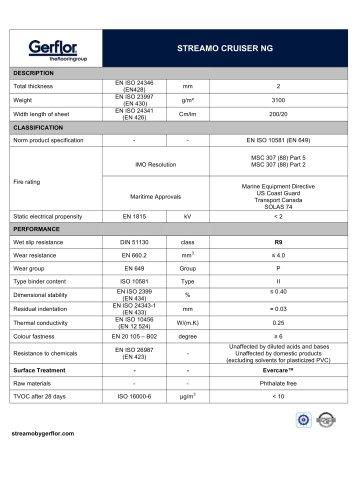 STREAMO CRUISER NG TECHNICAL DATA SHEET