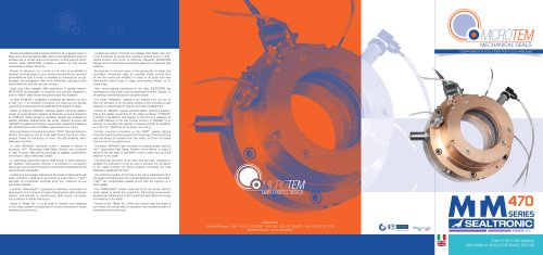 MTM 470: The first mechanical seal in the world equipped with electronic control operation