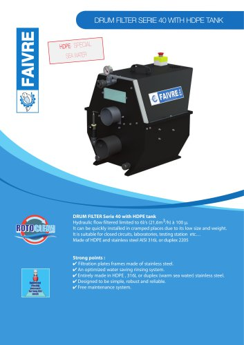 Drum filter serie 40 with HDPE tank