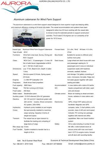 Aluminum catamaran for Wind Farm Support