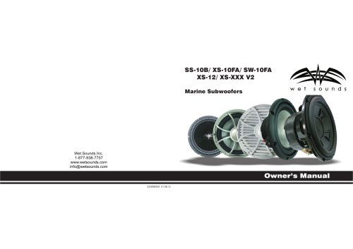 SS-10B_XS-10FA_SW-10FA_XS-12_XS-XXXV2 Marine Subwoofers