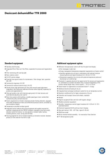 Desiccant dehumidifier TTR 2000