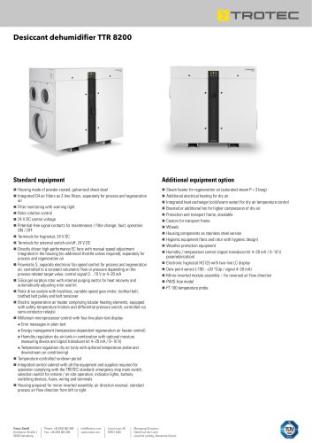 Desiccant dehumidifier TTR 8200