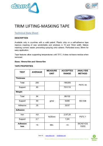 Trim-lifting Masking tape