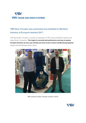 YMV Crane and Winch Systems Newsletter 2-2017