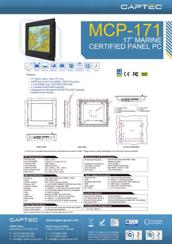 MCP-171 Marine Certified Panel Computer DS ThumbnailCaptec MCP-171
