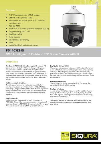 PD1103Z2-EI - 3MP PTZ dome IP networked camera with 36x zoom and IR for outdoor