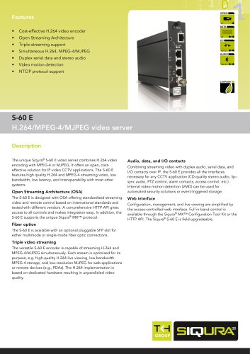 S-60 E - One-channel IP video encoder