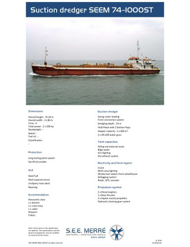 Suction dredger SEEM 74-1000ST