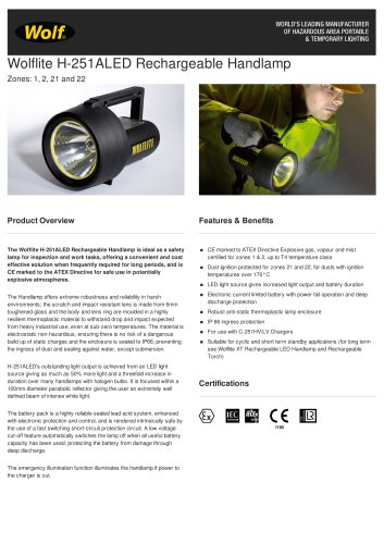 WOLFLITE® H-251ALED RECHARGEABLE HANDLAMP PRODUCT INFORMATION SHEET