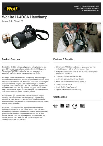WOLFLITE® H-4DCA HANDLAMP PRODUCT INFORMATION SHEET