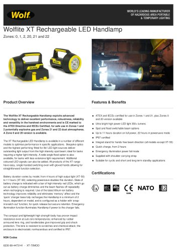 WOLFLITE® XT RECHARGEABLE LED HANDLAMP PRODUCT INFORMATION SHEET