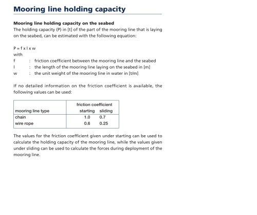 Mooring line holding capacity