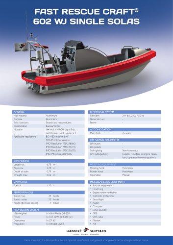 Fast Rescue Craft 602 WJ single solas